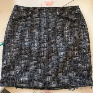 Banana Republic Leather Detail Tweed Mini Skirt